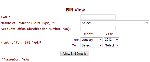 View/ Book Identification Number (bin) Details