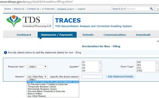 Not Filed Tds ReturnFile Nil Declaration On Traces