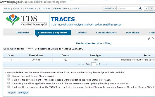Not filed TDS Return-File NIL Declaration on Traces