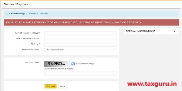 Form 26QB - Demand payment - Details