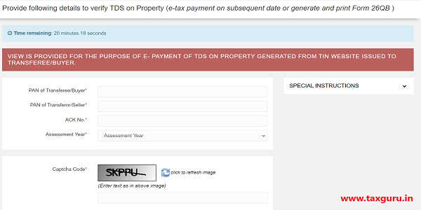 Form 26QB - Payment on subsequent date