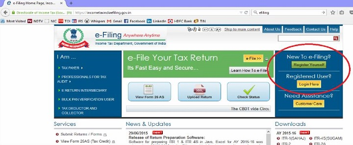 Login to e-filing portal