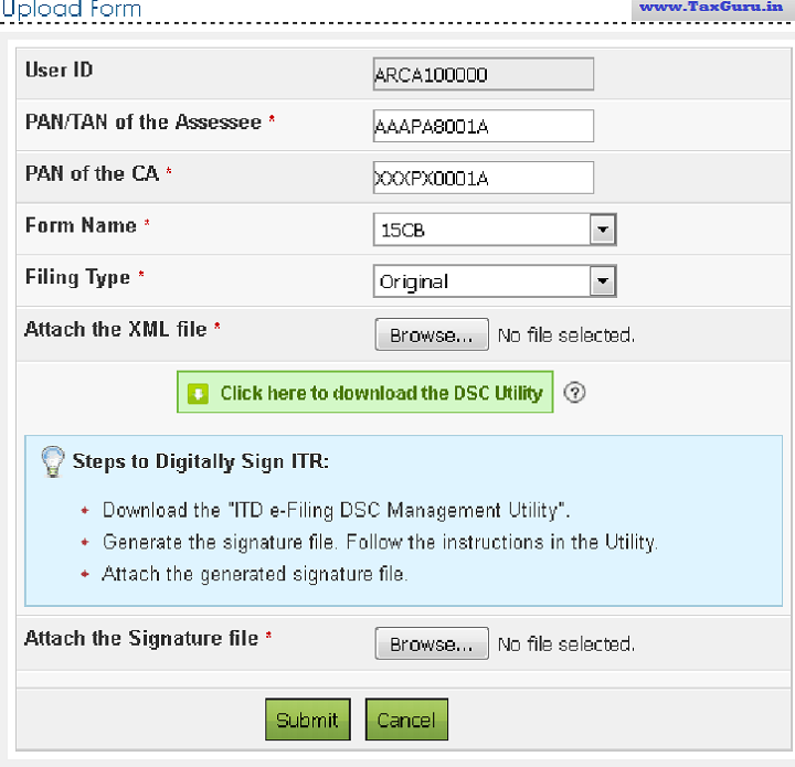 How to e-File Form 15CA and 15CB