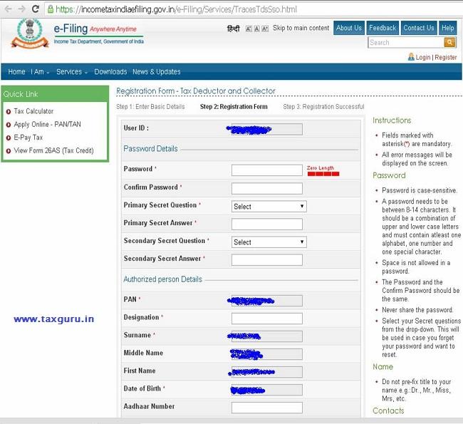 Registration Process For Online Tdstcs Return Filing Upload