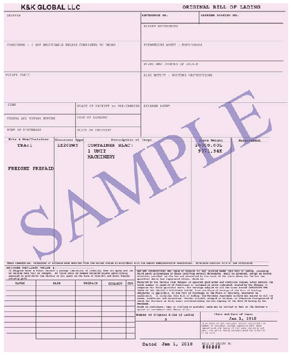 Doc11621522 Sample Bill of Lading 13 Bill of Lading Templates – Sample of Bill of Lading Document