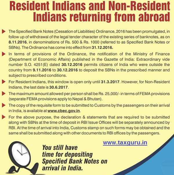 Date for deposit of Specified Bank Notes extended for Residents and Non Resident Indians who were outside country from 09.11.2016 to 30.12.2016