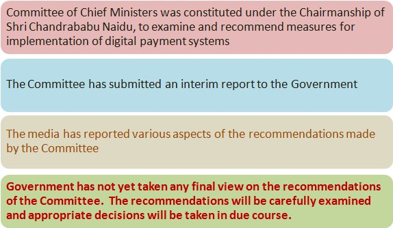 No Final Decision taken on Recommendations of Committee of CMs on Digital Payments