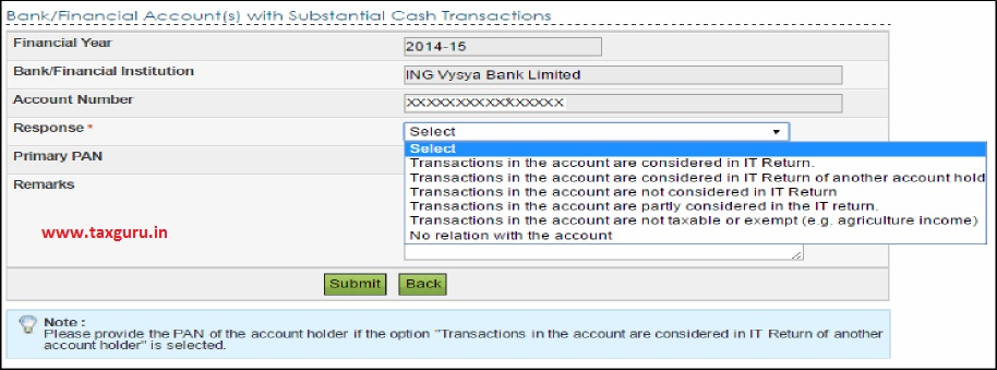 Submit reponse to Cash Transactions