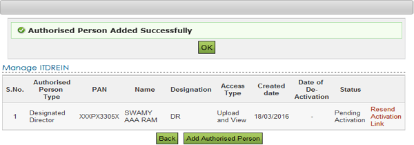 Add Authorised Person Successfully