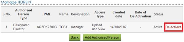 De-activate link to de-activate the Authorised Person