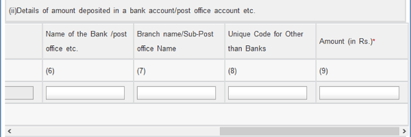 Detailed of Amount Deposited in Bank