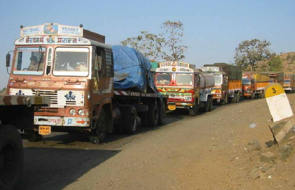 Figure 1. Freight trucks queued up close to a border