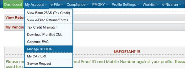 My Account Manage ITDREIN.