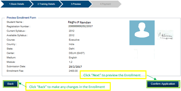 Preview the enrollment detail