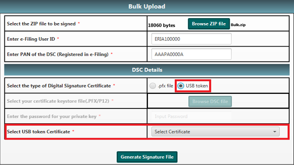 Select a valid USB token certificate.