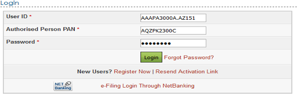 User ID (ITDREIN), Authorised Person PAN, and password