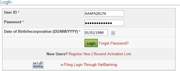 User ID, e-Filing Password and DOB DOI.