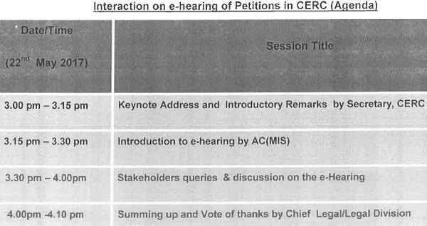 Interaction in e-hearing of Petitions in CERC (Agenda)