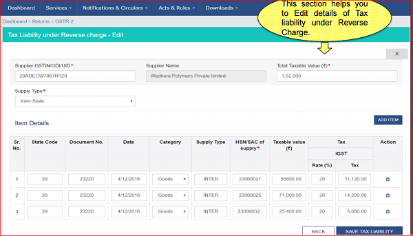 Option to Edit at item level in GST