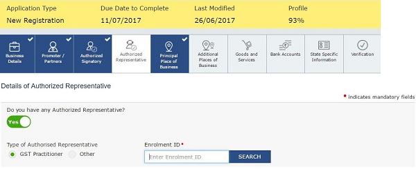 Details of authorized Representative