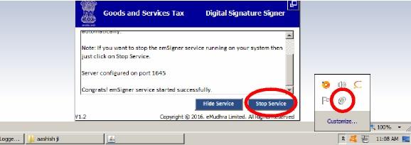 Stop emSigner service