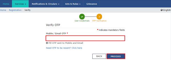 18. mobile or Enmail OTP