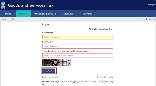 Log into the GST Portal