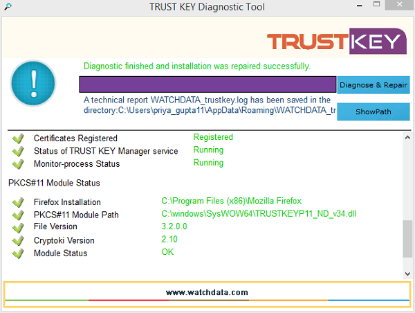 TRUST KEY Diagnostic Tool