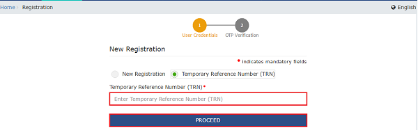 Temporary Reference Number (TRN)