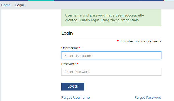 Username and Password have been successfully created