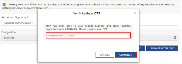 Verify Adhaar OTP and Continue