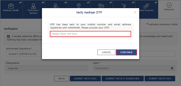 Verify Adhaar OTP