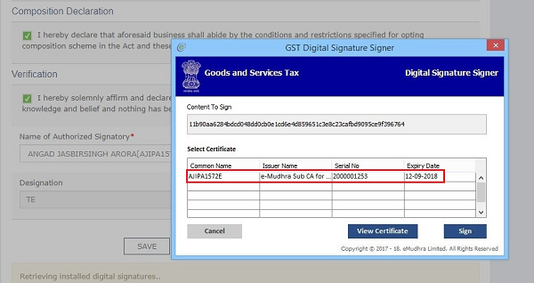 installed digital signatures