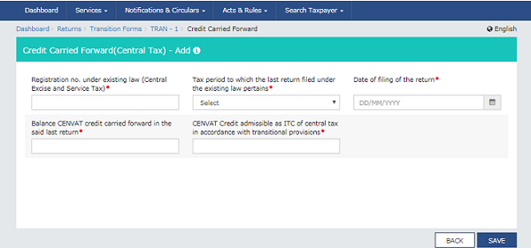 Credit Carried Forward(Central Tax)