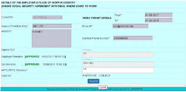 DETAILS OF THE EMPLOYER & PLACE OF WORK IN COUNTRY