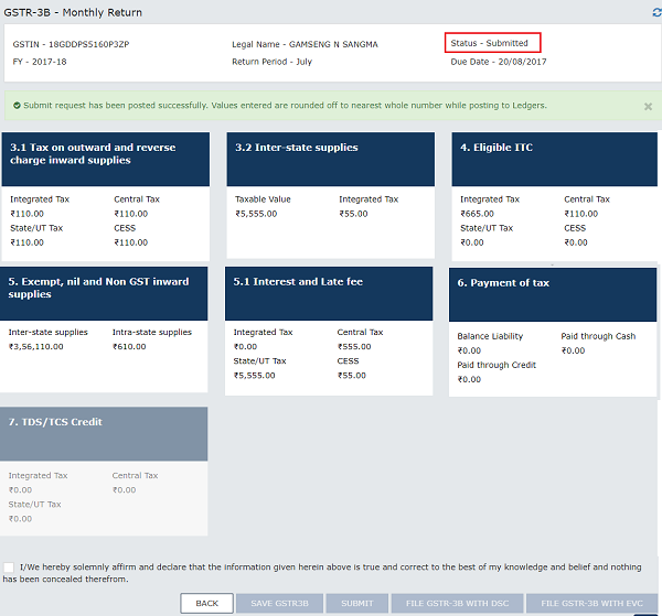 How to create and submit file gstr 3b return for Table 6 of gstr 3b