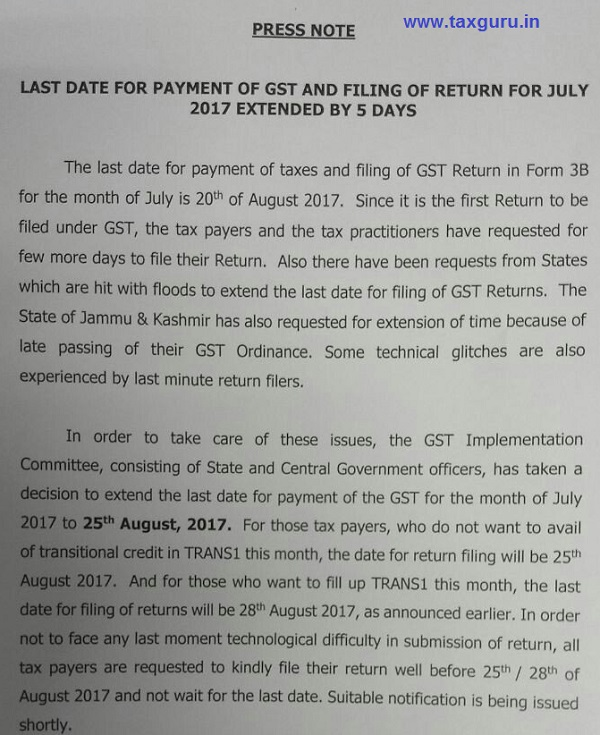 Press Release GST Payment and Return 3B Date extension