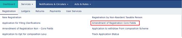 Amendment of Registration Core Fields