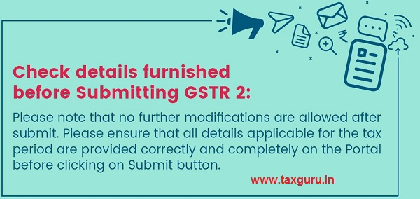 Check details furnished before Submitting GSTR 2