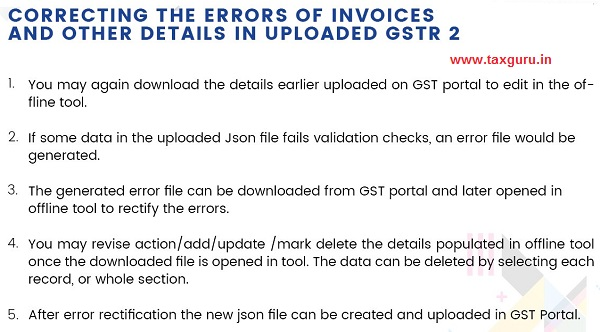 Correcting The Errors Of Invoices And Other Details In Uploaded GSTR 2