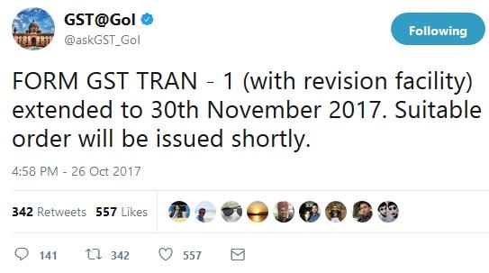 FORM GST TRAN - 1 Extension