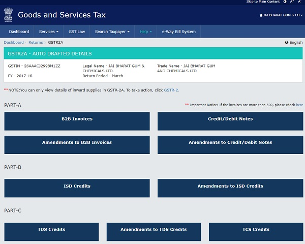 Form GSTR-2A – AUTO DRAFTED DETAILS