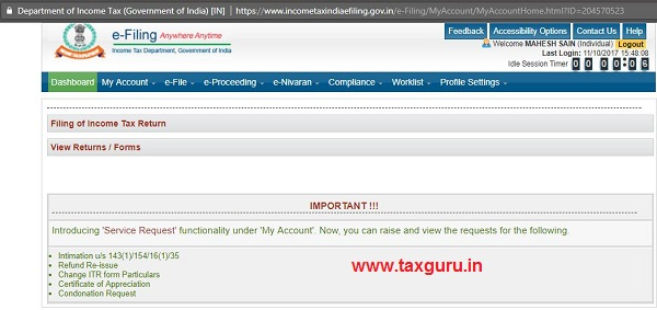 Income Tax Website User Log-In