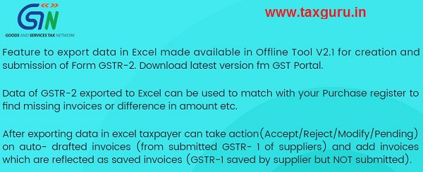Offline Tool for creation and submission of GSTR-2