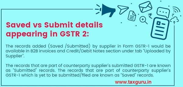 Saved vs Submit details appearing in GSTR 2