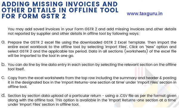 Taxpayers guide for Adding Missing Invoices and other details in offline tool for Form GSTR 2