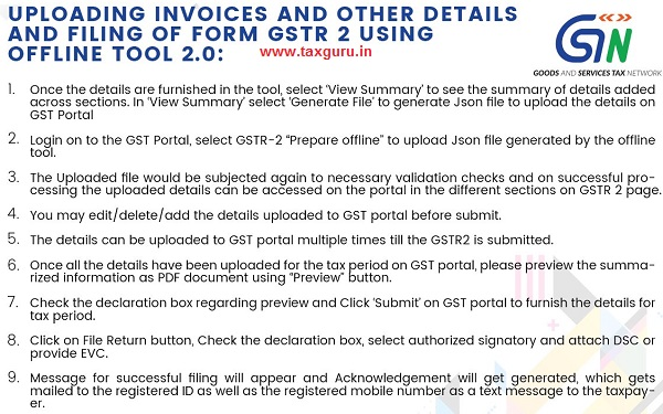 UPLOADING INVOICES AND OTHER DETAILS AND FILING OF FORM GSTR 2 USING OFFLINE TOOL 2.0