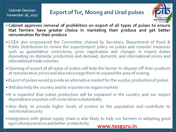 Cabinet allows export of all varieties of pulses