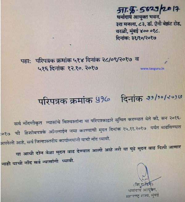 Extension of Due Date of Filing of Accounts to Charity Commissioner in State of Maharashtra