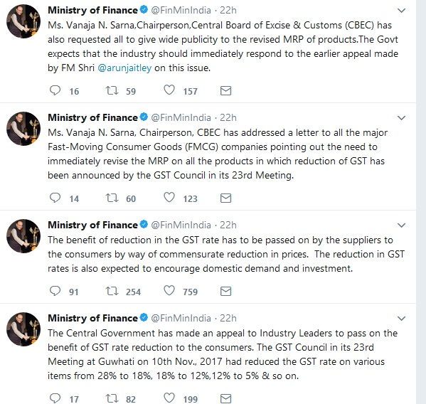FM tweets on passing on the benefit of GST rate reduction to the consumers